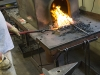 Blacksmith student working at the forge, John C. Campbell Folk Art School, Brasstown, North Carolina.