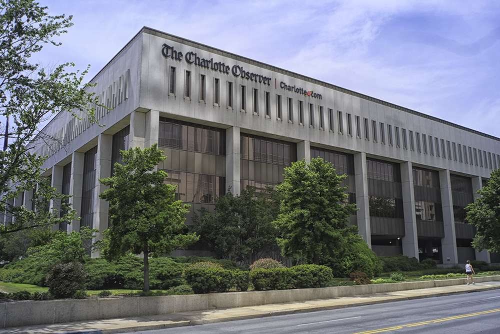 The Charlotte Observer newspaper building in Charlotte, North Carolina.