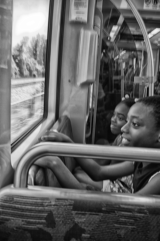 Two children on Blueline train, Charlotte, North Carolina.