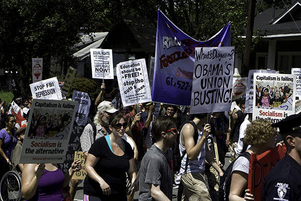 Coalition to March on wall Street South protest march on September 2, 2012 in Charlotte, North Carolina preceding the Democratic National Convention. Adiverse group of protestors withs many issues including education, unions, socialism vs. capitalism, imigration