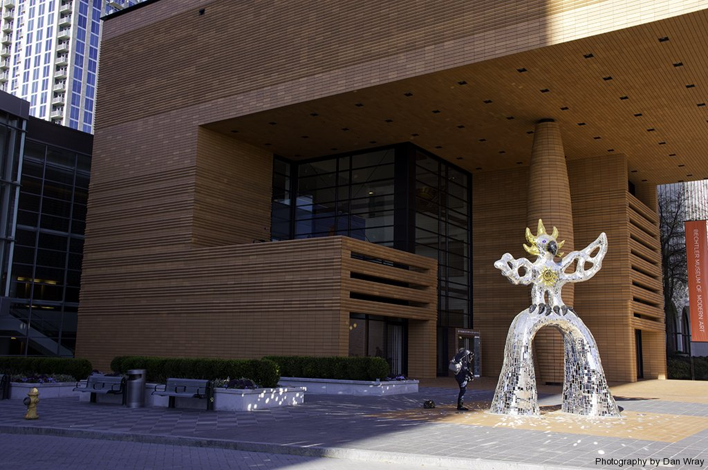 The Firebird, 1991 by Niki de Staint Phalle (1930-2002) in front of the Museum of Modern Art, Charlotte, North Carolina. (Andreas H. Bechtler Arts Foundation)
