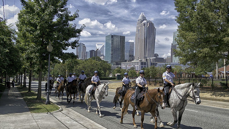 United States Park Service officers riding through Charlotte, North Carolina in preparation for the Democratic National Convention, 2012.
