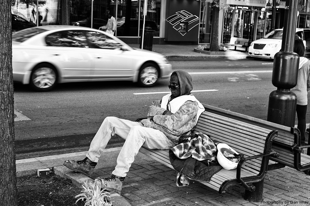 Worker resting on bench, Charlotte, North Carolina
