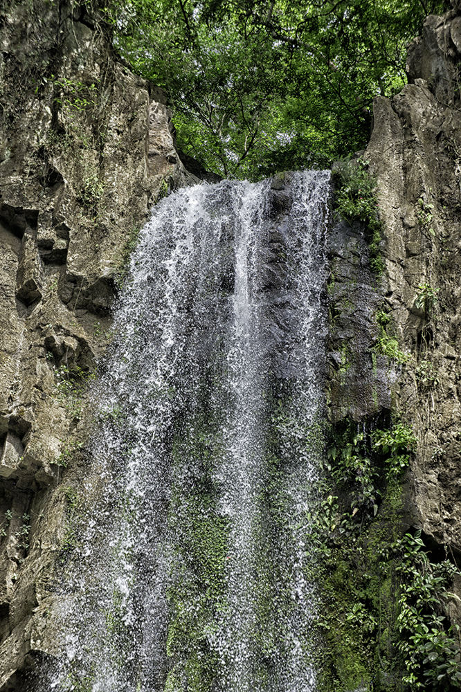 The Waterfall of Los Angeles in Atenas, Costa Rica. Note the volcanic columnar rock formation.