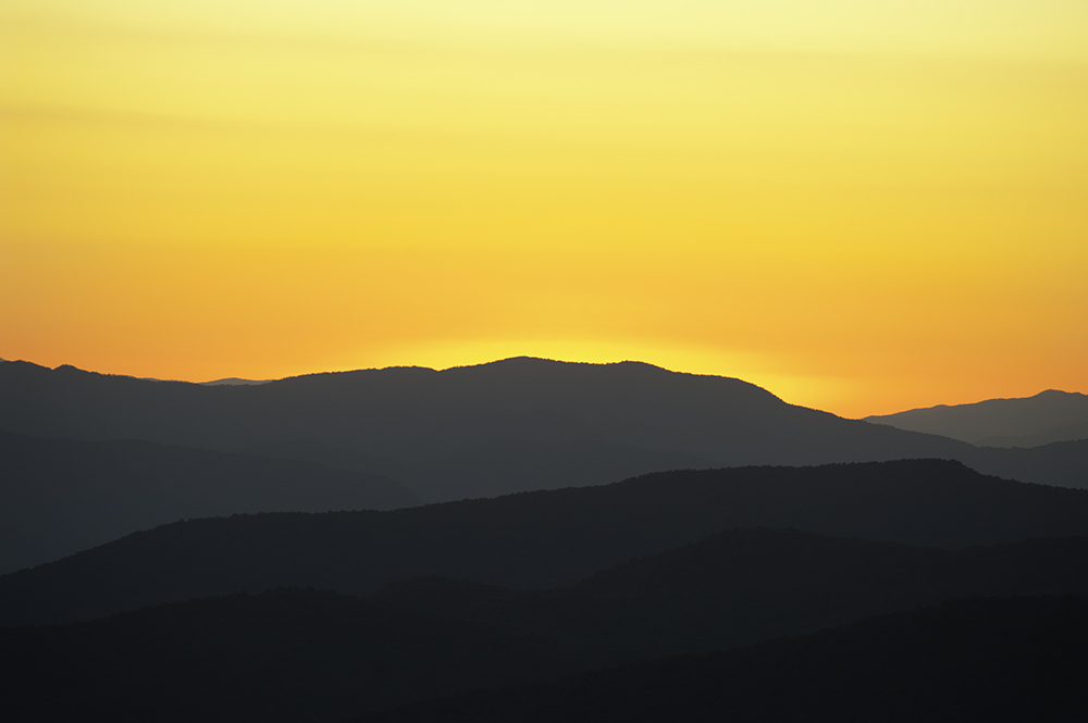 Sunset on the Blue Ridge Parkway, North Carolina. Taken with a Nikon 300mm f2.8 lens.