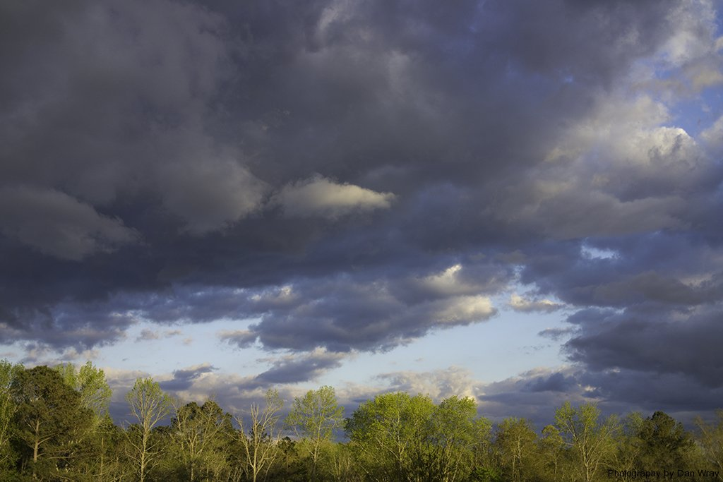 Passing storn clouds just before sunset, Piedmont region of North Carolina.