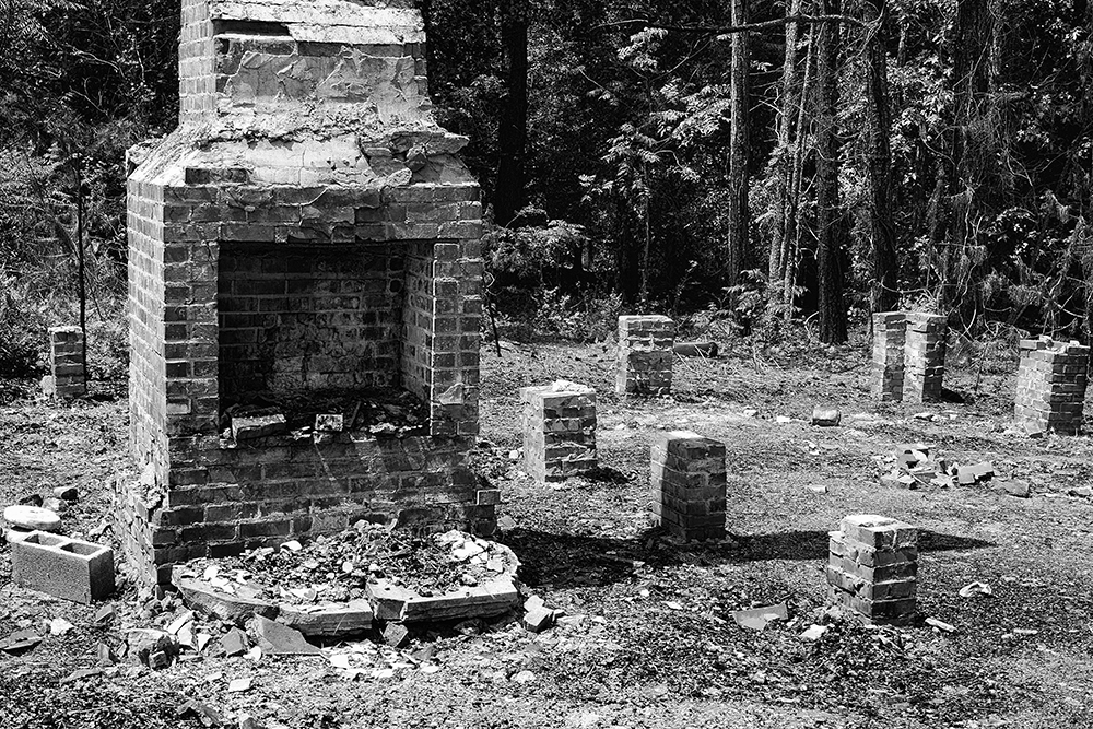 Remains of a burned down house, Montgomery County, North Carolina
