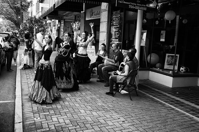 Street musicians and dancers, Concord, North Carolina.