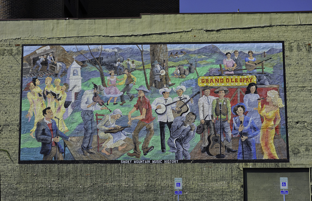 Smoky Mountain Music History wll mural in Maryville, Tennessee.
