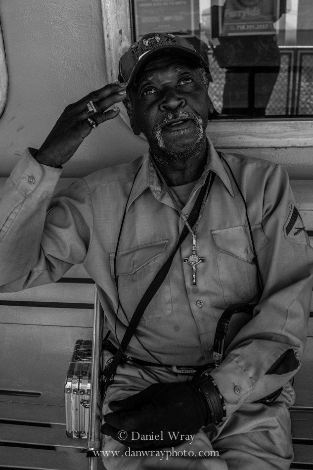 Old Army veteran on the Statin Island Ferry, New York City.