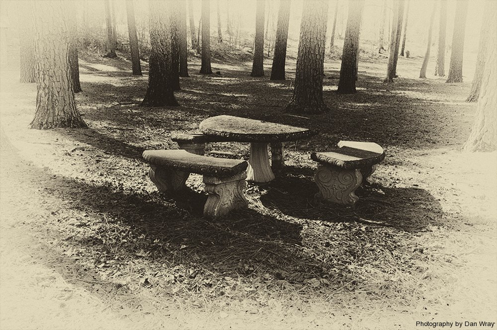 Stone benches and table in Stanback Park, Mt. Gilead, North Carolina.