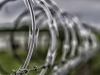 Razor wire on top of chain link fence.