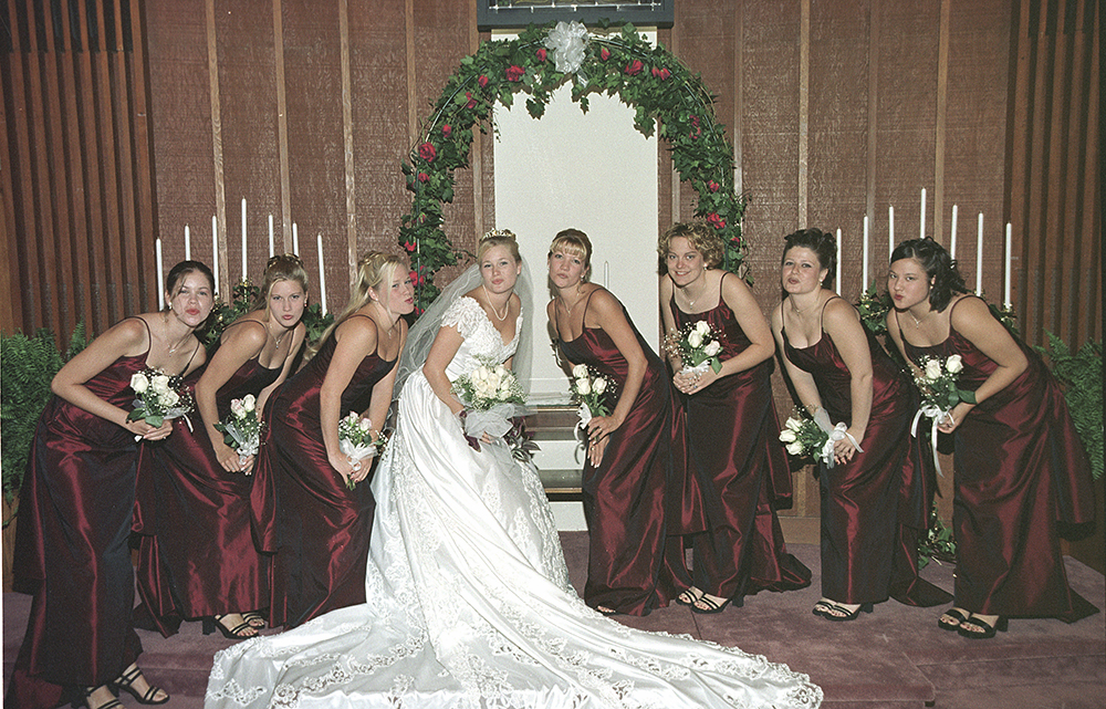 Deirdre with bridesmaids on wedding day, 7/15/00 at Prosperity Presbyterian Church, Charlotte, NC.