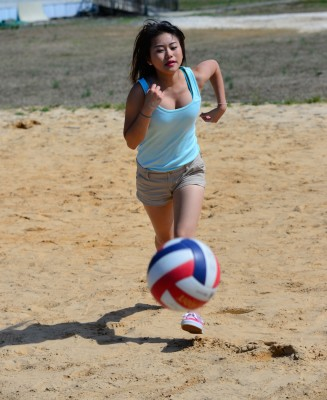 High school students in North Carolina playing volleyball.