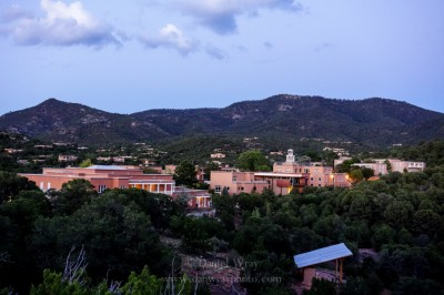 Saint John's College, Santa Fe, New Mexico at twilight.
