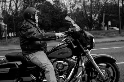 Man on Harley-Davidson motorcycle, Charlotte, North Carolina.