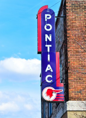 Pontiac sign on an old dealer's building in Albemarle, North Carolina.