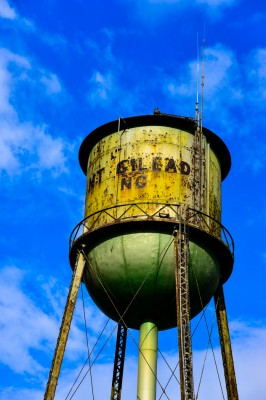 Old retired water tower in Mount Gilead, North Carolina.