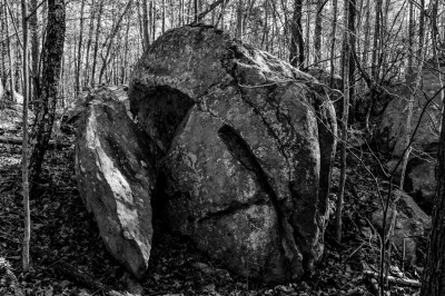 "Split boulder, in the ""Nifty Rocks"" area of Uwharrie Mountains National Forets."