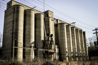 Abandoned concrete silos in Albemarle, North Carolina.