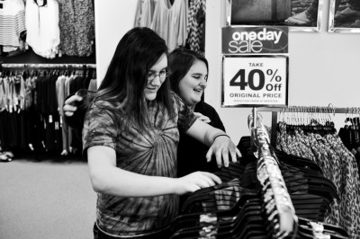 Teen girl(s) shopping for clothes. (MR)