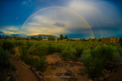 Double rainbow, Albuquerque looking toward Sandia mountains.