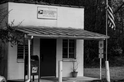 The tiny United States Post Office in McFarlan, North Carolina