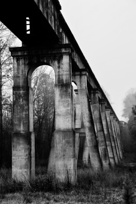 An old train tressel bridge on the outskirts of Mount Gilead, North Carolina.