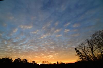 Sunrise on a winter morning.