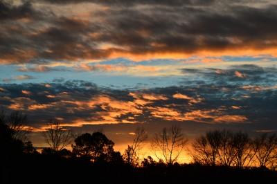 Early morning sky before sunrise, Piedmont of North Carolina.
