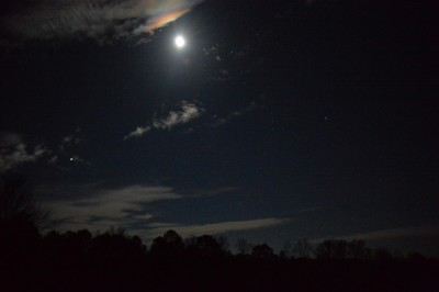 Full Moon, stars, clouds  in a winter evening, Piedmont of North Carolina.