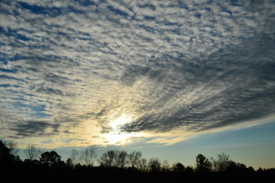 Sunrise and stratocumulus clouds, Piedmont of North Carolina.