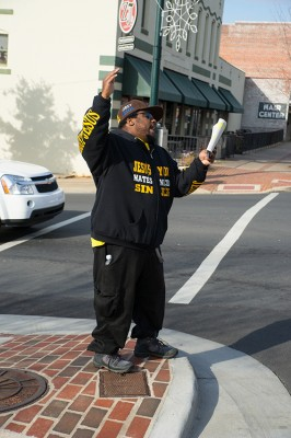 Street corner preacher in Albemarle, North Carolina.