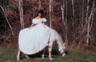 Woman in wedding dress on white horse. (MR)