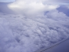 Above the clouds on a flight to Costa Rica.